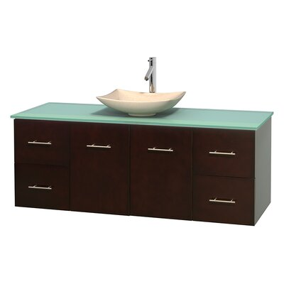 Centra 60 Single Bathroom Vanity Set Base Finish: Espresso, Basin Finish: Arista Ivory