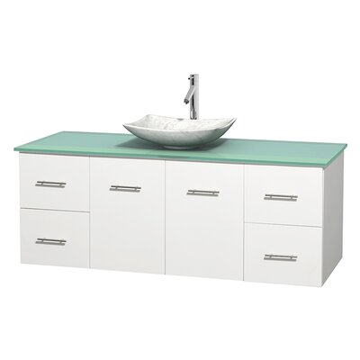 Centra 60 Single Bathroom Vanity Set Basin Finish: Arista White Carrera, Base Finish: Matte White