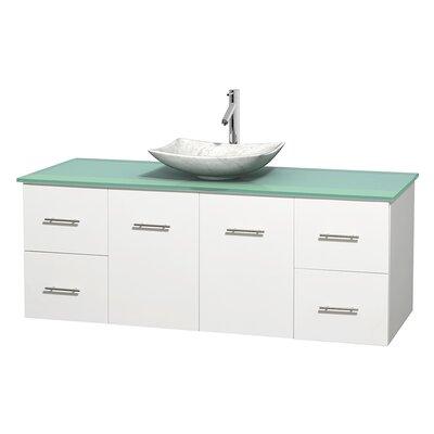Centra 60 Single Bathroom Vanity Set Base Finish: Matte White, Basin Finish: Arista White Carrera