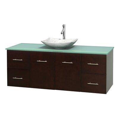 Centra 60 Single Bathroom Vanity Set Base Finish: Espresso, Basin Finish: Arista White Carrera