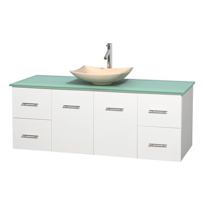 Centra 60 Single Bathroom Vanity Set Basin Finish: Arista Ivory, Base Finish: Matte White