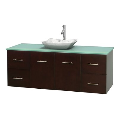 Centra 60 Single Bathroom Vanity Set Base Finish: Espresso, Basin Finish: Avalon White Carrera