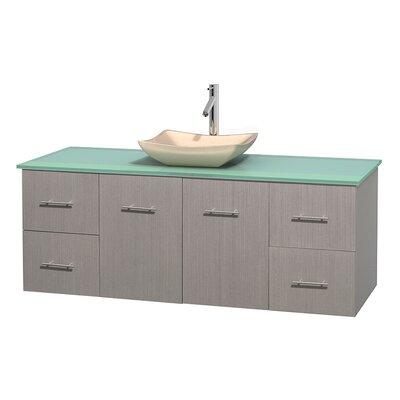 Centra 60 Single Bathroom Vanity Set Base Finish: Gray Oak, Basin Finish: Avalon Ivory