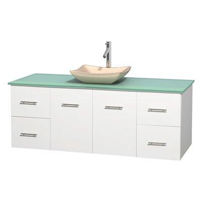 Centra 60 Single Bathroom Vanity Set Basin Finish: Avalon Ivory, Base Finish: Matte White