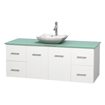Centra 60 Single Bathroom Vanity Set Base Finish: Matte White, Basin Finish: Avalon White Carrera