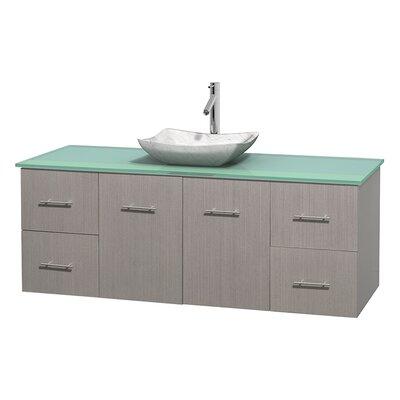 Centra 60 Single Bathroom Vanity Set Base Finish: Gray Oak, Basin Finish: Avalon White Carrera