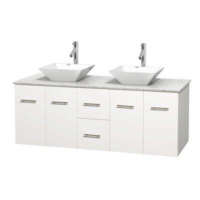 Centra 60 Double Bathroom Vanity Set Base Finish: Matte White, Top Finish: White Carrera, Basin Finish: White Porcelain
