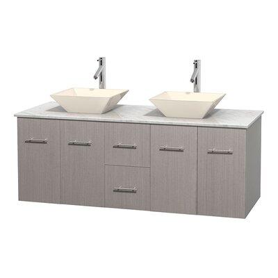 Centra 60 Double Bathroom Vanity Set Base Finish: Gray Oak, Top Finish: White Carrera, Basin Finish: Bone Porcelain