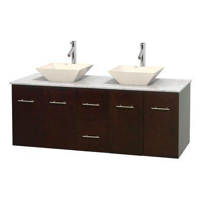 Centra 60 Double Bathroom Vanity Set Base Finish: Espresso, Top Finish: White Carrera, Basin Finish: Bone Porcelain