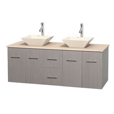 Centra 60 Double Bathroom Vanity Set Base Finish: Gray Oak, Top Finish: Ivory, Basin Finish: Bone Porcelain
