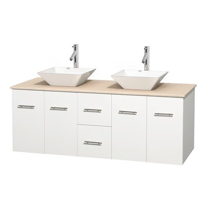 Centra 60 Double Bathroom Vanity Set Base Finish: Matte White, Top Finish: Ivory, Basin Finish: White Porcelain