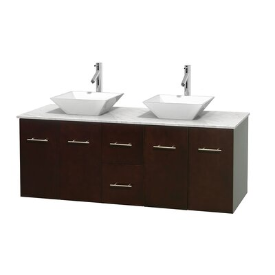 Centra 60 Double Bathroom Vanity Set Basin Finish: White Porcelain, Base Finish: Espresso, Top Finish: White Carrera