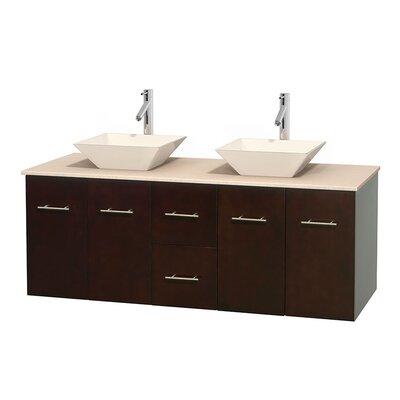 Centra 60 Double Bathroom Vanity Set Base Finish: Espresso, Top Finish: Ivory, Basin Finish: Bone Porcelain
