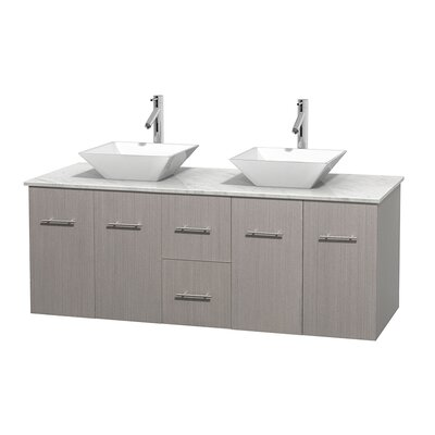 Centra 60 Double Bathroom Vanity Set Base Finish: Gray Oak, Top Finish: White Carrera, Basin Finish: White Porcelain
