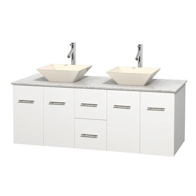 Centra 60 Double Bathroom Vanity Set Base Finish: Matte White, Top Finish: White Carrera, Basin Finish: Bone Porcelain