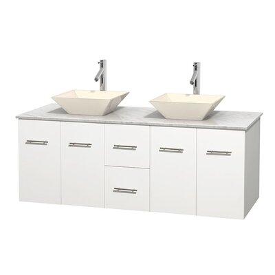 Centra 60 Double Bathroom Vanity Set Basin Finish: Bone Porcelain, Base Finish: Matte White, Top Finish: White Carrera