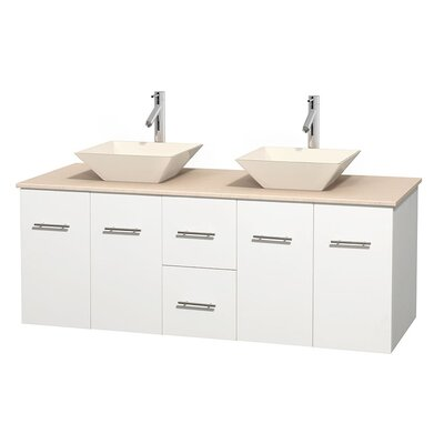 Centra 60 Double Bathroom Vanity Set Base Finish: Matte White, Top Finish: Ivory, Basin Finish: Bone Porcelain