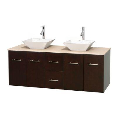 Centra 60 Double Bathroom Vanity Set Base Finish: Espresso, Top Finish: Ivory, Basin Finish: White Porcelain