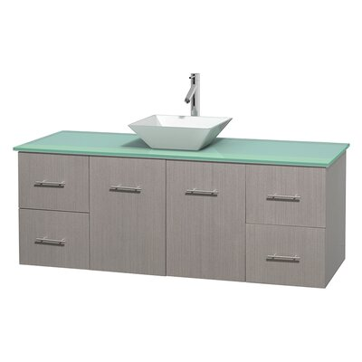 Centra 60 Single Bathroom Vanity Set Base Finish: Gray Oak, Basin Finish: Pyra White