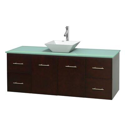 Centra 60 Single Bathroom Vanity Set Base Finish: Espresso, Basin Finish: Pyra White