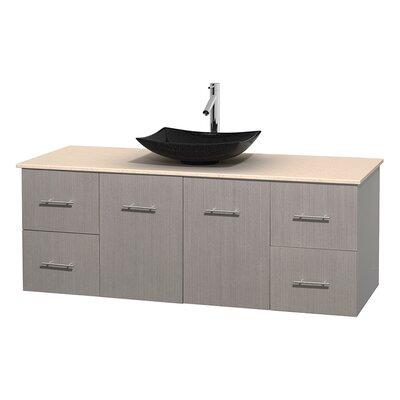 Centra 60 Single Bathroom Vanity Set Base Finish: Gray Oak, Top Finish: Ivory