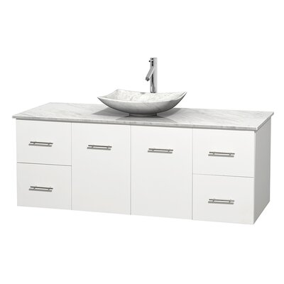 Centra 60 Single Bathroom Vanity Set Basin Finish: White Carrera Marble, Base Finish: Matte White, Top Finish: White Carrera