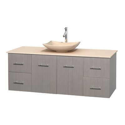 Centra 60 Single Bathroom Vanity Set Base Finish: Gray Oak, Top Finish: Ivory, Basin Finish: Ivory Marble