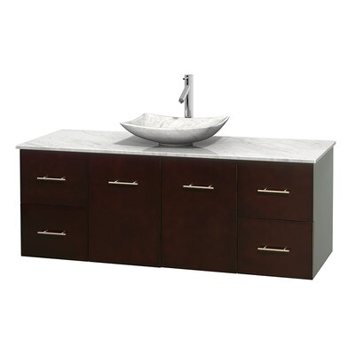 Centra 60 Single Bathroom Vanity Set Base Finish: Espresso, Top Finish: White Carrera, Basin Finish: White Carrera Marble