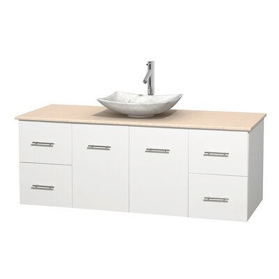 Centra 60 Single Bathroom Vanity Set Base Finish: Matte White, Top Finish: Ivory, Basin Finish: White Carrera Marble