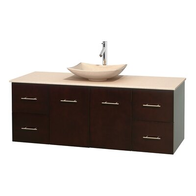 Centra 60 Single Bathroom Vanity Set Base Finish: Espresso, Top Finish: Ivory, Basin Finish: Ivory Marble