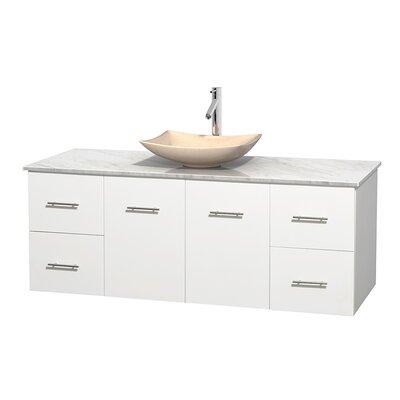 Centra 60 Single Bathroom Vanity Set Base Finish: Matte White, Top Finish: White Carrera, Basin Finish: Ivory Marble