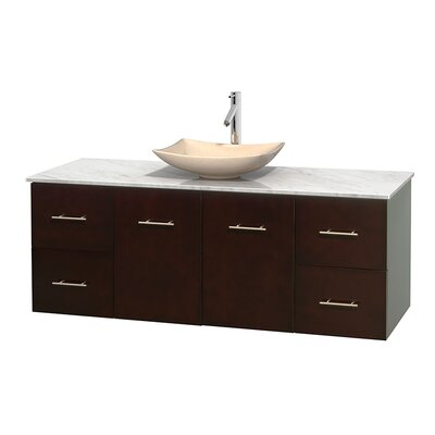 Centra 60 Single Bathroom Vanity Set Basin Finish: Ivory Marble, Base Finish: Espresso, Top Finish: White Carrera