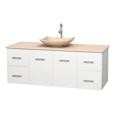 Centra 60 Single Bathroom Vanity Set Base Finish: Matte White, Top Finish: Ivory, Basin Finish: Ivory Marble