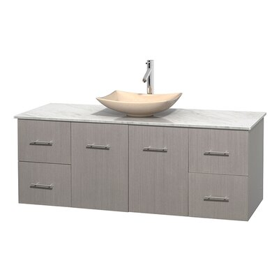 Centra 60 Single Bathroom Vanity Set Base Finish: Gray Oak, Basin Finish: Ivory Marble, Top Finish: White Carrera