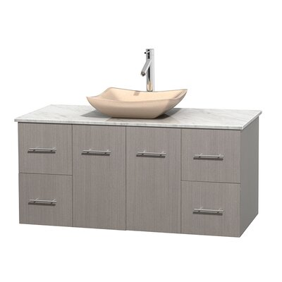 Centra 48 Single Bathroom Vanity Set Base Finish: Gray Oak, Top Finish: White Carrera, Basin Finish: Ivory Marble