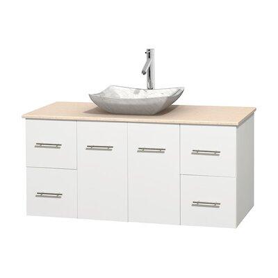 Centra 48 Single Bathroom Vanity Set Basin Finish: White Carrera Marble, Base Finish: Matte White, Top Finish: Ivory