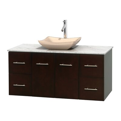 Centra 48 Single Bathroom Vanity Set Base Finish: Espresso, Top Finish: White Carrera, Basin Finish: Ivory Marble