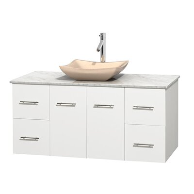 Centra 48 Single Bathroom Vanity Set Base Finish: Matte White, Top Finish: White Carrera, Basin Finish: Ivory Marble