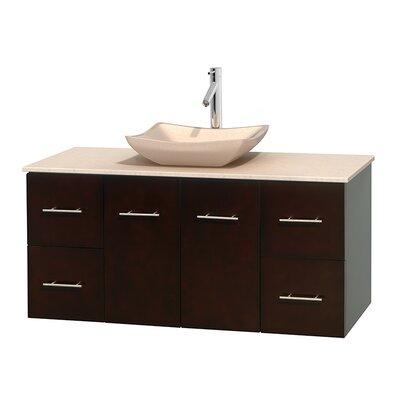 Centra 48 Single Bathroom Vanity Set Base Finish: Espresso, Top Finish: Ivory, Basin Finish: Ivory Marble