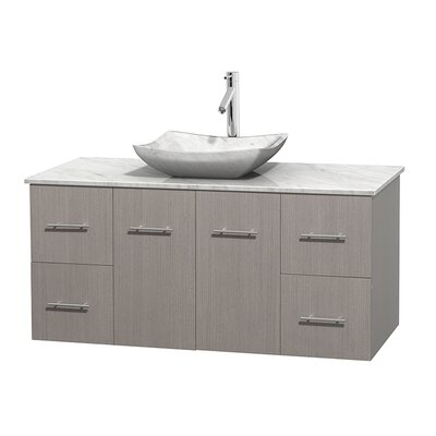 Centra 48 Single Bathroom Vanity Set Base Finish: Gray Oak, Top Finish: White Carrera, Basin Finish: White Carrera Marble