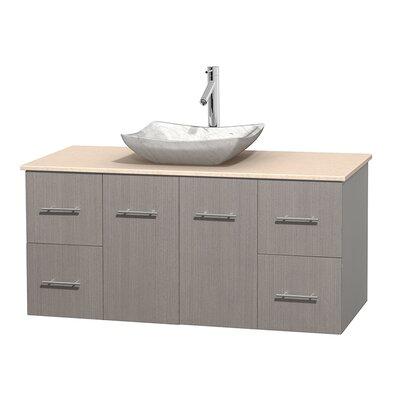 Centra 48 Single Bathroom Vanity Set Base Finish: Gray Oak, Top Finish: Ivory, Basin Finish: White Carrera Marble