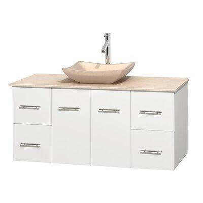 Centra 48 Single Bathroom Vanity Set Base Finish: Matte White, Top Finish: Ivory, Basin Finish: Ivory Marble