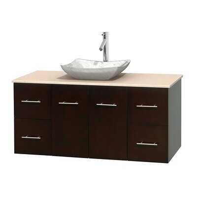Centra 48 Single Bathroom Vanity Set Base Finish: Espresso, Top Finish: Ivory, Basin Finish: White Carrera Marble