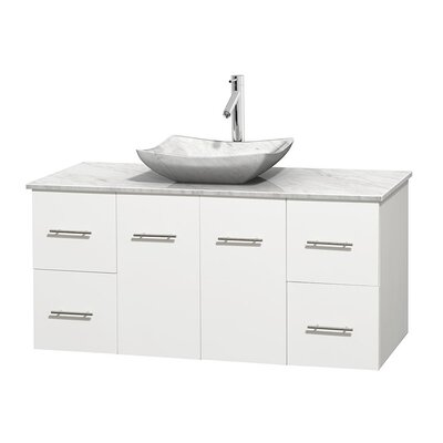Centra 48 Single Bathroom Vanity Set Top Finish: White Carrera, Basin Finish: White Carrera Marble, Base Finish: Matte White