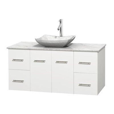 Centra 48 Single Bathroom Vanity Set Base Finish: Matte White, Top Finish: White Carrera, Basin Finish: White Carrera Marble