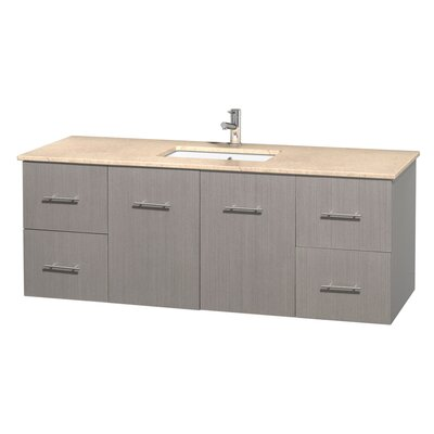 Centra 60 Single Bathroom Vanity Set Base Finish: Gray Oak, Top Finish: Ivory