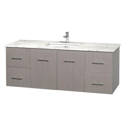 Centra 60 Single Bathroom Vanity Set Base Finish: Gray Oak, Top Finish: White Carrera