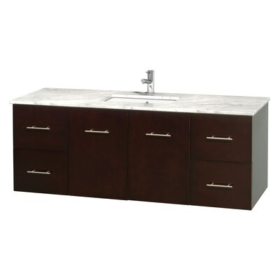 Centra 60 Single Bathroom Vanity Set Base Finish: Espresso, Top Finish: White Carrera