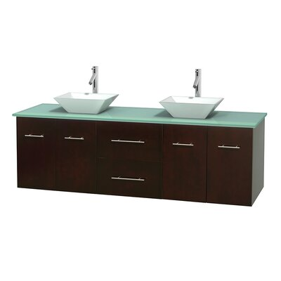 Centra 72 Double Bathroom Vanity Set Base Finish: Espresso, Basin Finish: Arista White Carrera