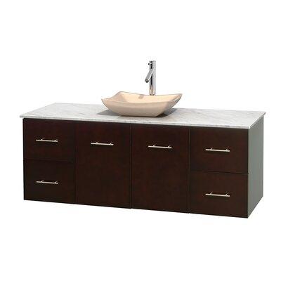 Centra 60 Single Bathroom Vanity Set Base Finish: Espresso, Top Finish: White Carrera, Basin Finish: Ivory Marble